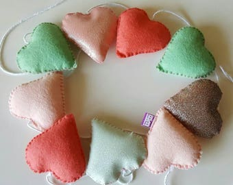 Heart garland -heart bunting - felt hearts- valentines gift