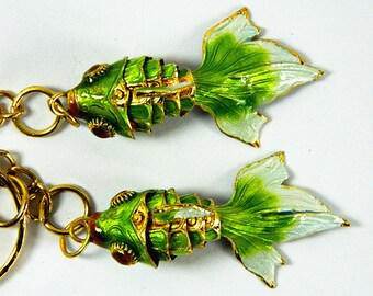 Pair Of Bright Green Cloisonne Copper Enamel Articulated Goldfish Koi Fish Figurine,Making Pendant & Earrings Eardrops,Decoration Ornament,