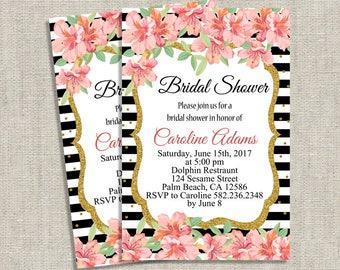 Floral Bridal Shower Invitation, Printable Bridal Shower Invitations, Printed Bridal Shower Invites, Wedding Shower Invitations, PDF Invite
