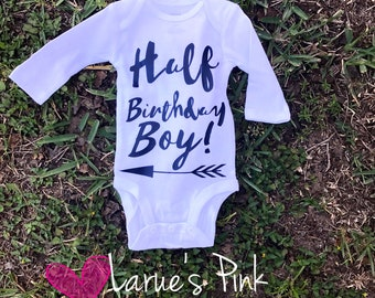 Half birthday boy onesie/ half birthday / boy onesie
