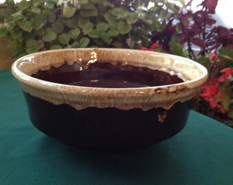 Roseville Brown Bowl Hand Made with Drip Glaze