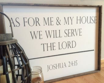 As For Me And My House We Will Serve The Lord Framed Canvas Sign