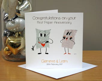Personalised Paper (1st) Cartoon Anniversary Card - Funny/Cute Anniversary Card - Cards For Husband/Wife - Cards For Couple