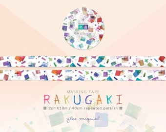 Watercolor Masking Tape, Japanese Washi Tape, RAKUGAKI, doodles, books, Stationery, 10M