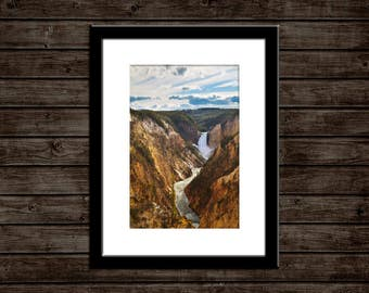 "Waterfall Wall Art | ""Yellowstone Falls"" 