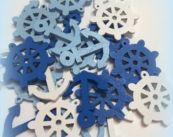 Wood die cut anchor and steering wheel mix, craft supplies scrapbooking sea painted white blue wooden shapes forms captain wheel ship boat