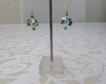 Mottled green/brown Lampwork/crystal earings