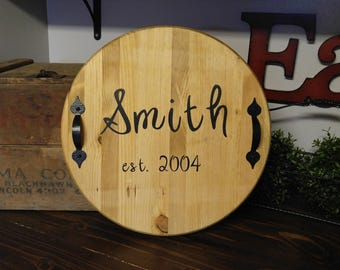 Custom Round Wooden Serving Tray with Handles