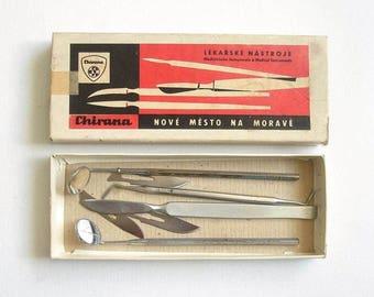 Vintage Slovakia Dental Teeth Instruments in Original Box. Dental Supplies, Dentist Tools, Dentistry Set, Medical instruments CHIRANA