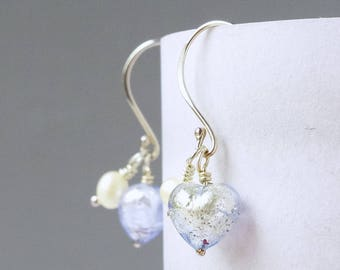 Sterling Silver Boho Drop Earrings With Ice Blue Murano Hearts and Freshwater Pearls