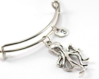 OCTOPUS bracelet, silver octopus bangle, octopus charm, initial bracelet, adjustable bangle, personalized jewelry, swarovski birthstone