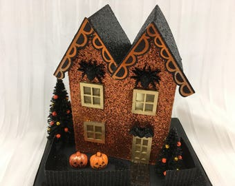 Halloween Glitter Putz House - Orange with Decorated Trees