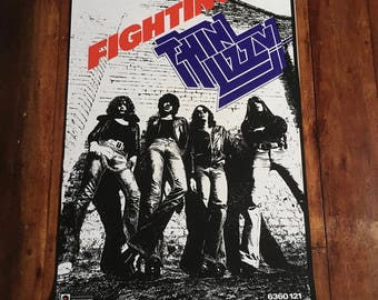 Thin Lizzy Fighting 1975 Vertigo Records/Phonogram Original Rare Vintage Music Silkscreened Poster