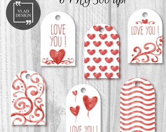 6 Printable Watercolor Valentine's Tags Valentine's Gift Tags Love labels Instant download DIY Romantic presents Tags Wedding tags Love tags
