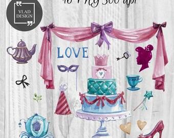16 Watercolor Love Elements Valentine's Clipart Love Clipart Digital Wedding Elements Cute Love graphics Hearts clipart Romantic clipart