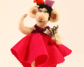 Carmen the flamengo dancer, needle felted mouse.