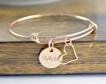 Wedding Date Bracelet - Rose Gold Bracelet - Hand Stamped Jewelry, Personalized Hand Stamped Bracelet, Date Bracelet - Roman Numeral Jewelry