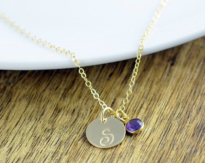 Gold Initial Necklace - Amethyst Necklace - Hand Stamped Initial - Initial Jewelry - Initial Necklace -Gemstone Necklace -Gemstone Jewelry