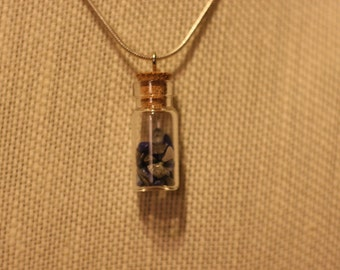 blue healing stone /glass bottle necklace
