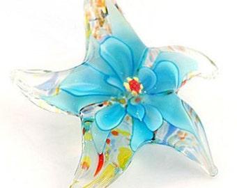 Starfish flower handmade Murano Lampwork glass beaded Pendant