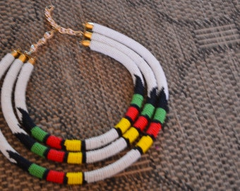 African Maasai Beaded Necklace|3 in 1 White Necklace| African Jewelry | Tribal Necklace |One size fits all | Gift for Her