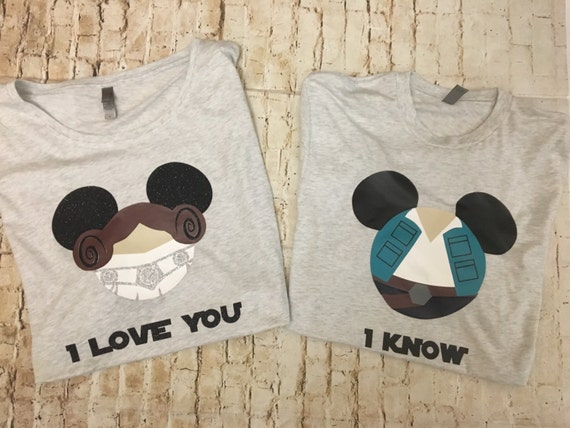 Ringspun T Shirt >> Princess Leia and Han Solo Mouse Ears Shirt Customized