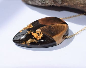 Wood Resin Necklace, Made in Italy, Handmade Necklace, B.Black n.2, Unique piece, Wood resin jewelry, Handmade Jewelry