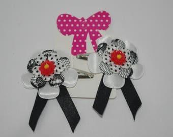 Black and white hairclip. Kawaii, Fairy kei, harajuku, Guyaru, Lolita
