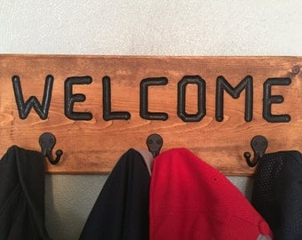 "Coat Rack w/ ""Welcome"" - Stained (Golden Mahogany) with Black Letters"