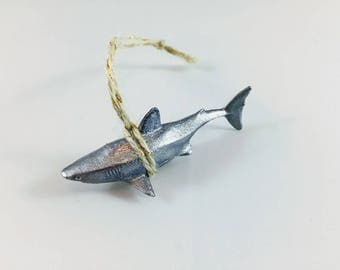 Silver shark ornament // coastal Christmas // coastal ornament // Santa jaws // sea animal ornament // ocean ornament