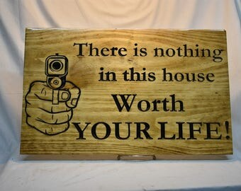 Carved wooden signs made to order Wooden property signs  Gun Saying Signs Private Drive, No Trespassing and also Sign private property