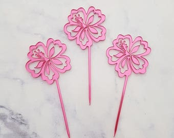 Set of 12 Hibiscus cupcake toppers  - perfect for luau , beach,Hawaiian themed parties