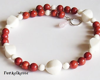 Necklace red white necklace coral necklace red white gemstone necklace coral fresh as the summer silver-colored coral necklace gemstones