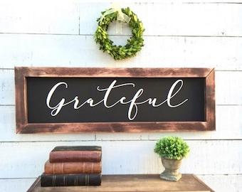 Grateful framed chalkboard, rustic home decor