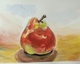 Pear - original watercolour painting by Vicky Curtin