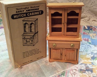 Vintage Miniature Hutch Cabinet For Dollhouse/ Early Americana Wood Hutch