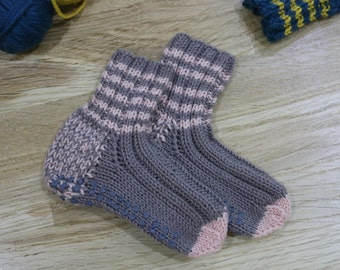 Baby socks pink pale/brown, 12-15 months, anti-slip