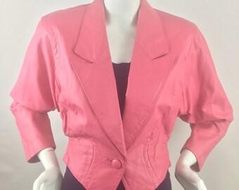Vintage 1980s Chia Hot Pink Cropped Tuxedo Styled LeatherJacket-Size S