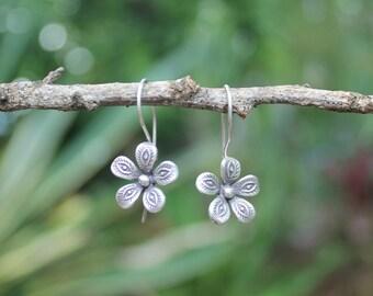 THAI FLOWER EARRINGS - Karen Hill Tribe Silver