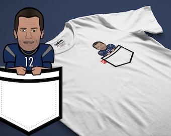 "Tom Brady ""G.O.A.T."" Caricature Fauxket (Faux Pocket) Tee - New England Patriots Theme"