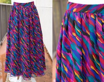 Vintage Womens Abstract Print Fitted Skirt - Retro 80s 1980s 70s 1970s Pliers LTD - Teal, Purple, Orange, Red, Gold, Blue Camo Camouflage