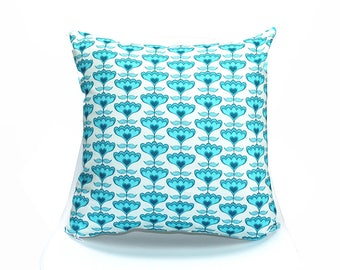 18x18 Throw Pillow Cover FLOWER HEARTS - Our Original Design & Cute! Pillow Case, Home Decor, Accent, Decorative.  Made in USA.