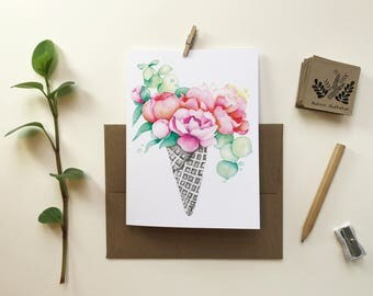 Cornet embossed Peony card / greeting card / card without text / Bouquet flowers / birthday party / Katrinn illustration