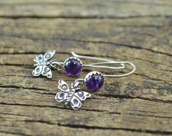 Purple Stone Butterfly Hook Back Earrings Sterling Silver 2.2g