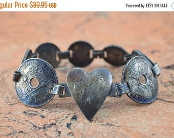 On Sale 1940's Vintage Engraved New Guinea Coin Link Bracelet Sterling Silver 29.8g