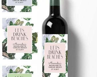 bachelorette label/ bachelorette stickers/ beach party label/ beach wedding label/ wine stickers/ wine labels/ custom wine labels/ weddings