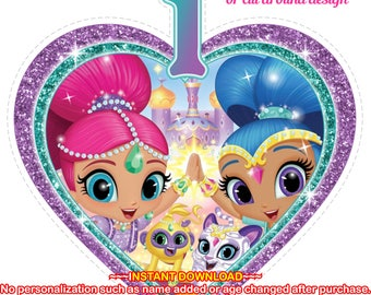 INSTANT DOWNLOAD - Shimmer and Shine Age 1 Party decor, Shimmer and Shine Table Topper, Shimmer and Shine Centerpiece - SHIMMERSHINE6