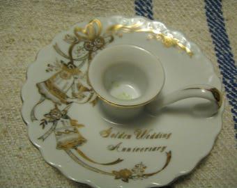50th Golden Anniversary Candleholder Golden Wedding Anniversary Candleholder Excellent Condition Gifting