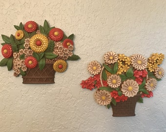 Syroco Flower Bouquet Basket Wall Hangings, 1975