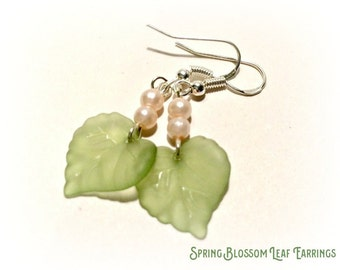 Spring Leaf Earrings Choice of colours - Free UK Delivery